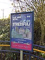Wednesbury Parkway Tram Stop - sign - A bit more Metro ... A lot less stressful! (37654095595).jpg