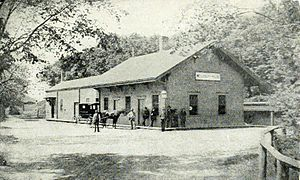 Wellesley Hills (MBTA station) - Wellesley Hills station, still with a Grantville sign, around 1884