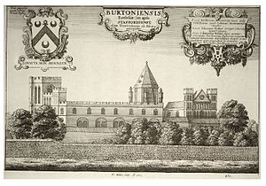 Burton Abbey - Print (1661) of Burton church by Wenceslas Hollar