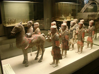 Emperor Wu of Han - Chinese ceramic statues of cavalry and infantry, wearing armor and bearing shields (with missing weapons), from a Western Han tomb, Hainan Provincial Museum