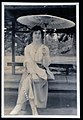 Western Woman in Kyoto, Japan, Taisho era - sitting (1915 by Elstner Hilton).jpg