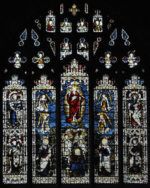 St John's Church, Barmouth - The West Window of St John's Church above the Font. The Window shows the Risen Christ and Angels.