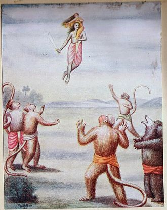 Vanara - When Ravana carried Sita first on his shoulders and then in the chariot, she threw some of her jewels towards the monkeys