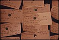 When the Major Home Oil Dealer Ran Out of Fuel a Special Board Was Activated for Emergency Deliveries. More Than 250 Homes Were without Oil. Closeup of Cards on the Wall Listed Priorities 10-1973 (4272443232).jpg