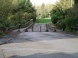Whitley, Coventry - Whitley Abbey Bridge and the bollards across Abbey Road