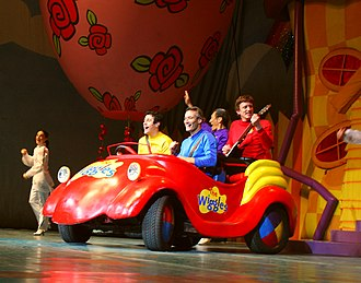 The Wiggles - The Wiggles' line up in 2007, riding in the Big Red Car during a concert