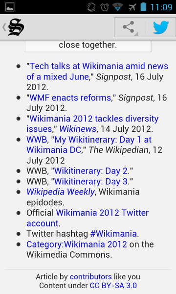 File:Wikipedia Signpost Android App 1.0 RC1 article display (with attribution) screenshot.png