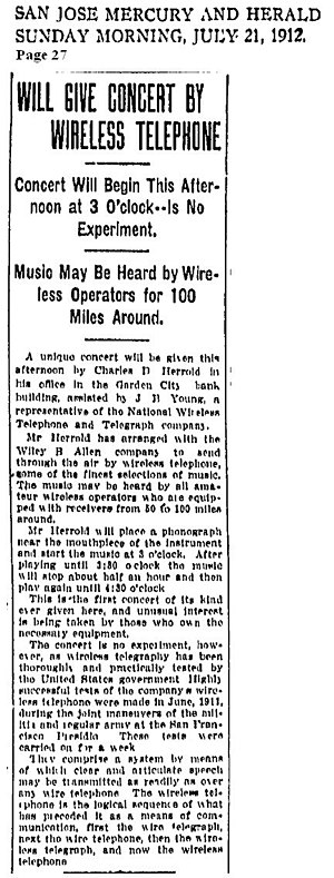 Charles Herrold - Image: Will Give Concert by Wireless Telephone 21JUL1912