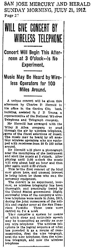KCBS (AM) - Image: Will Give Concert by Wireless Telephone 21JUL1912