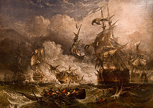 Amid a bank of thick smoke, parts of five sailing warships can be seen. The clearest one is in the act of firing into another, which has lost its masts. In the foreground, a boat and wreckage float on choppy waters.