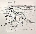 William Morris on Pony in Iceland 1870 cartoon by Edward Burne-Jones.jpg