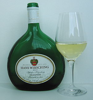Silvaner - A Silvaner wine from Franconia in the typical Bocksbeutel.