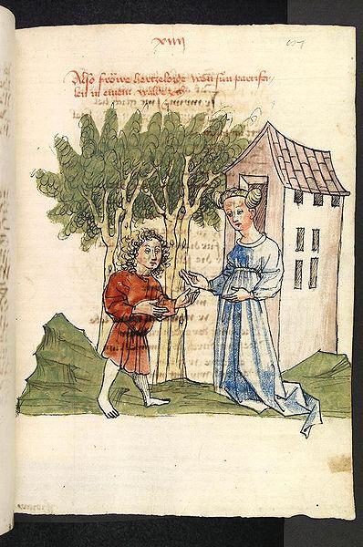 Herzeloyde und Parzival im Wald von Soltane (UB Heidelberg, Cod. Pal. germ. 339, fol. 87r)