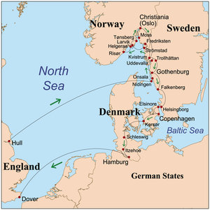 Map showing Wollstonecraft's route through Denmark, Sweden, Norway, and the German States