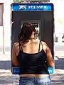 Woman at Telmex Public Phone - Tehuantepec - Isthmus Region - Oaxaca - Mexico (6547257043).jpg