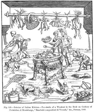 Cristoforo di Messisbugo - Illustration to Messisbugo's cookbook on how to prepare a banquet,  Banchetti composizioni di vivande e apparecchio generale