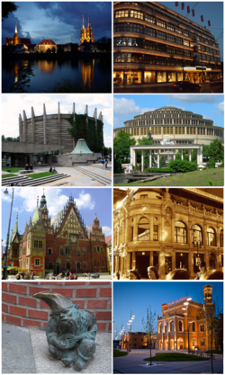 Top to bottom, left to right: Ostrów Tumski by night, Renoma mall, Rotunda of Racławice Panorama, Centennial Hall, City Hall, Monopol Hotel, Wrocław's dwarfs, Main Station