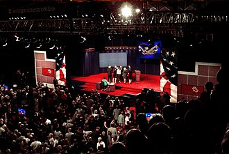 2008 United States presidential debates - The scene as the vice presidential debate concludes at the Washington University Field House