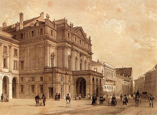 XIX century print, Piazza della Scala, Milano