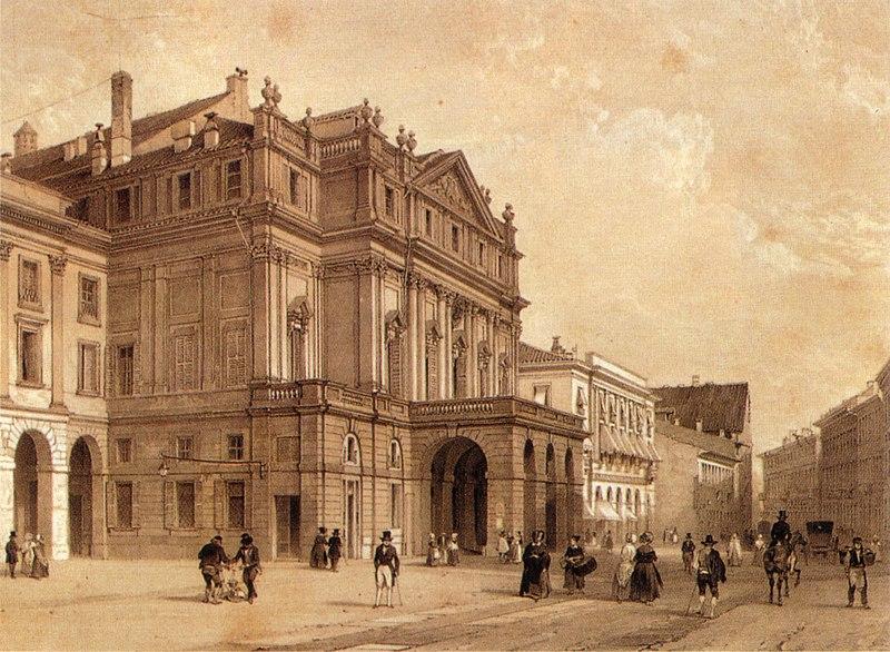 Immagine:XIX century print, Piazza della Scala, Milano.jpg