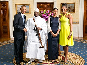Yahya Jammeh - Yahya and Zeinab Jammeh with President Barack Obama and First Lady Michelle Obama in the White House, August 2014.