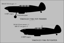 Yakovlev Yak-7UTI and Yak-7B side-view silhouettes.png