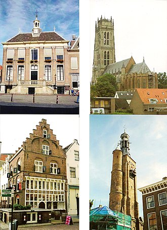 Zaltbommel - Clockwise from top left: City hall, Saint Martin church, Gasthuis Tower, Gothic house