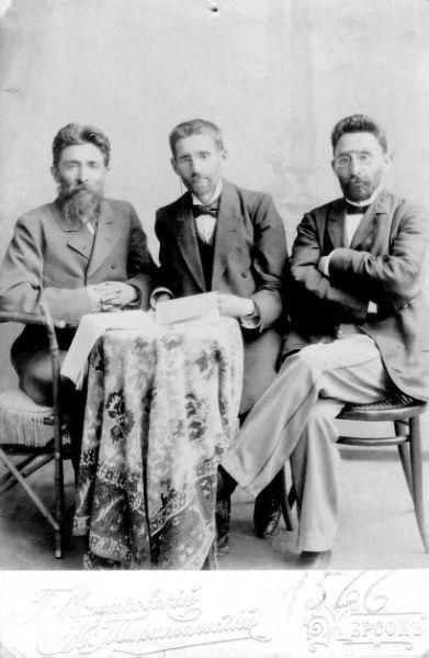 Ze'ev Vladimir Dubnov, Eliezer Ben-Yehuda & Ya'acov Shertok in 1901