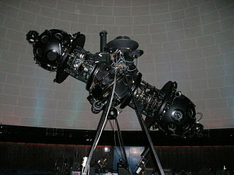 Zeiss projector - Marks II through VI utilized two small spheres of lenses separated along a central axis.