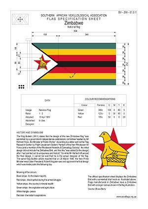 Flag of Zimbabwe - Zimbabwe National Flag Specifications showing both renditions of the Zimbabwe Bird