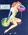 """A GOOD NUMBER"" pin-up art detail, from- 1946 - East Penn Jobbers Smokeland - Matchcover - Allentown PA (cropped).jpg"