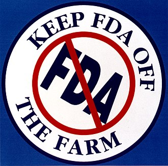 "In 1995, FDA's assertion of authority to regulate tobacco drew heavy opposition from the tobacco community, which erupted into lawsuits and slogans urging ""Keep FDA Off the Farm."" ""Keep FDA Off The Farm"" (FDA 140) (8205957369).jpg"