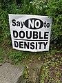 """Say NO to DOUBLE DENSITY"" protest sign -- High Park neighbourhood, Toronto.jpg"