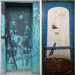Tony Berlant - Baba's Door by Tony Berlant, Spalding House, Honolulu, collaged metal, 1988