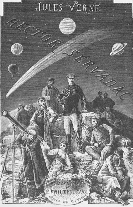 An illustration from Jules Verne 's novel Off On a Comet (French: Hector Servadac , 1877) drawn by Paul Dominique Philippoteaux . 'Off on a Comet' by Paul Philippoteaux 001.jpg