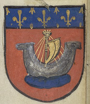 Economy of Paris - The Coat of Arms of the league of Paris river merchants in the Middle Ages became the emblem of the city of Paris
