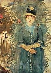 Stehende Dame zwischen Blumen
