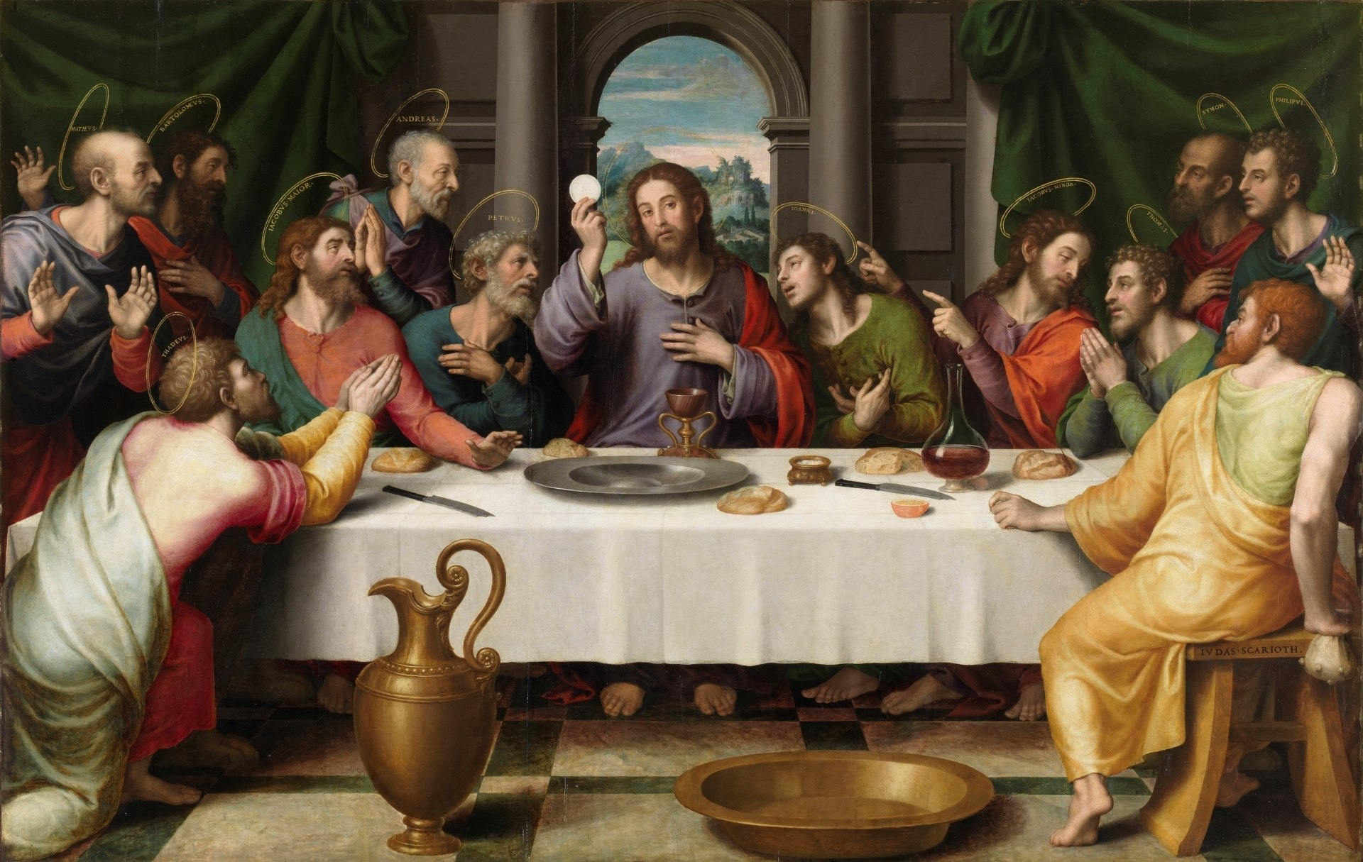 The Eucharist has been a key theme in the depictions of the Last Supper in Christian art,[1] as in this 16th-century Juan de Juanes painting.