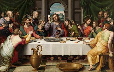 The Eucharist has been a key theme in the depictions of the Last Supper in Christian art, as in this 16th-century Juan de Juanes painting. Ultima Cena - Juan de Juanes.jpg