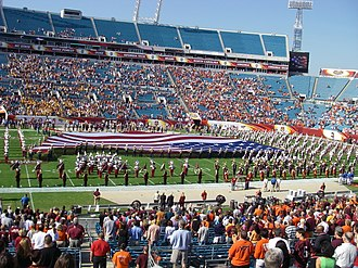 2007 ACC Championship Game - A giant American flag was stretched across the field as the Marching Virginians played the national anthem before kickoff.