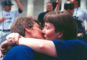 Millennium March on Washington - A lesbian couple at the event