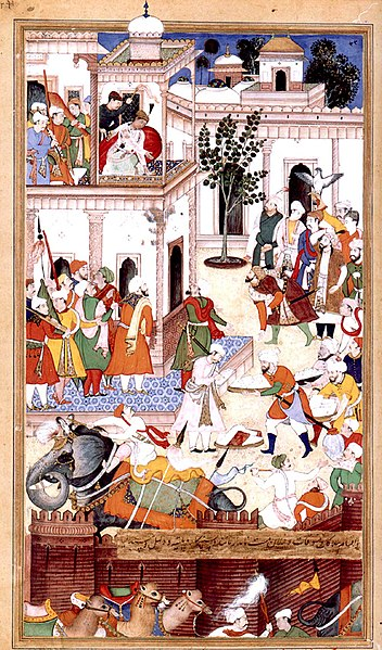 File:1561-The Submission of the rebel brothers Ali Quli and Bahadur Khan-Akbarnama (cropped).jpg