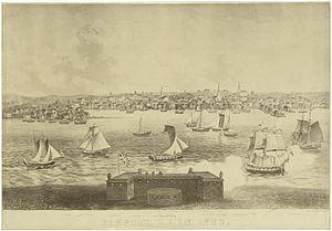 Timeline of Newport, Rhode Island - Image: 1730 Newport Rhode Island NYPL
