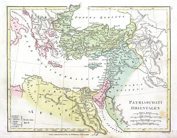 Map of Justinian's Pentarchy 1800 Wilkinson Map of the 4 Eastern Churches rectified.jpg