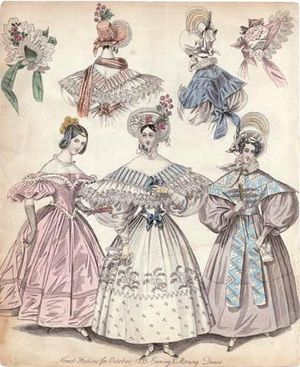 1830s in Western fashion - 1833 Fashion Plate: evening gown (left) and two morning dresses. The lady on the right wears a fichu-pelerine (tippet).