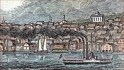 Woodcut of Newburgh skyline from Hudson in 1842, with Dutch Reformed Church prominent.