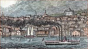 Newburgh, New York - Woodcut of Newburgh skyline from Hudson in 1842, with Dutch Reformed Church, then with its original dome and lantern