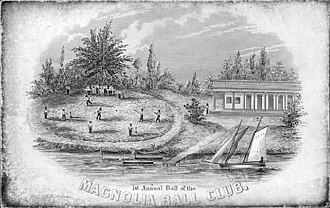 Origins of baseball - Ticket to the 1st annual ball of the (New York) Magnolia Ball Club, ca. 1843. This engraving, which precedes the Knickerbockers' founding by at least a year, is the earliest known image of grown men playing baseball.