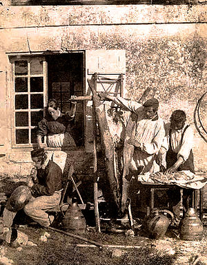 Pork - Pork being prepared in France during the mid-19th century