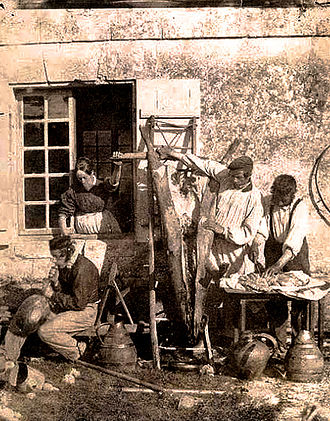 Pork - Pig being prepared in France during the mid-19th century.